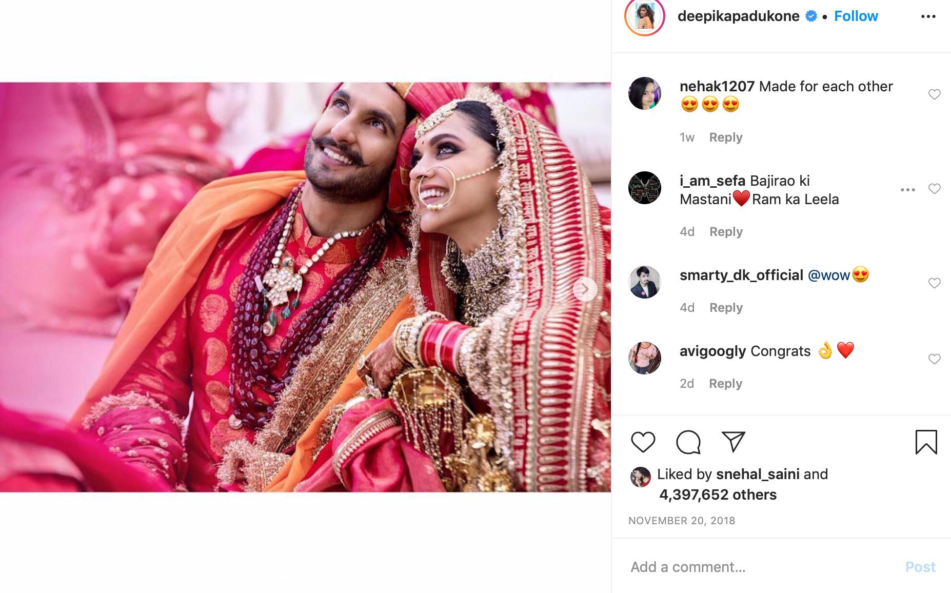 Deepika Padukone Sabyasachi Wedding Lehenga